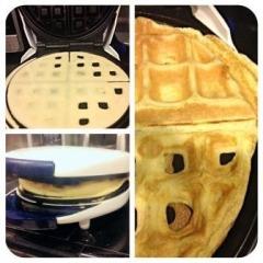 making egg waffle